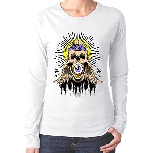 U are Friends Schädel Flügel Damen Lady Long Sleeve Tee Sport T Shirt lässig(XXL,weiß) (Tee Schädel-womens)