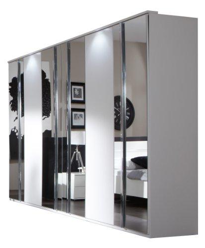 Wimex 734581 Kleiderschrank 270 x 210 x 58 cm mit 4 Spiegeltüren, Front und Korpus alpinweiß / Aufleistungen chrom glänzend