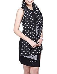 Großes Damen Schultertuch Wende Schal Umhang Cape mit Fransen Muster gepunktet - erhältlich in verschiedenen Farben