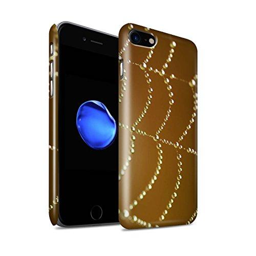 STUFF4 Glanz Snap-On Hülle / Case für Apple iPhone 8 / Blau Muster / Spinnen Netz Perlen Kollektion Orange