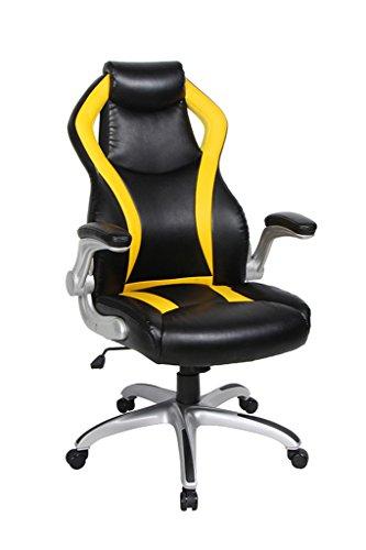 Viva Office Sedia Gaming ergonomica in cuoio rigenerato, con schienale alto, braccioli imbottiti e sollevabili, Nera e Gialla