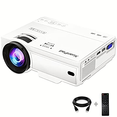 XuanPad Mini Projecteur 2400 Lumens Vidéoprojecteur Portable Retroprojecteur, 55000 Heures Multimédia Home Cinéma Projecteur, Compatible avec Amazon Fire TV Stick,1080P HDMI VGA USB par HHLX