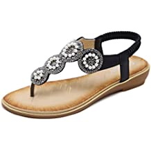 ddf388bed2b50 Sandales Femmes Sonnena 2018 Mode Flat Grande Taille Strass Crystal Perle  Fleur Casual Beach Shoes Chaussures