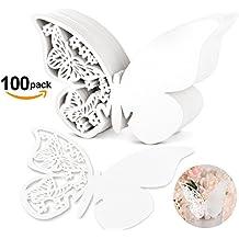 100 Piezas Shimmer cortado con láser Color Blanco Mariposa nombre lugar tarjeta para boda champán/copas de vino, fiesta favor decoración para números de mesa