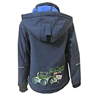 Outburst - Boys softshell jacket lined raincoat windproof and water-repellent tractor design, dark blue