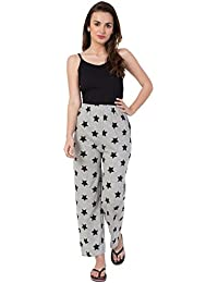 Fflirtygo Night Pyjamas for Women, Night Dress, Lounge Wear, Grey Color Printed Pyjama,–Soft Cotton Night Wear