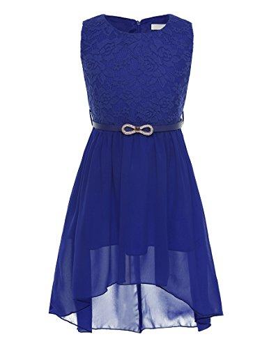 CHICTRY Ärmellos Prinzessin Kleid Mädchen Lace Chiffon Partykleid Festkleid Blumenmädchenkleid Hochzeit festlich Kleider Festzug Gr. 116-164 Blau 164