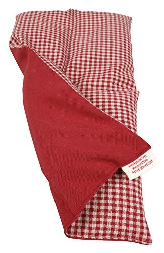 Textil FreWe Körnerkissen Baumwolle/Verschiedene Designs/ca. 34x17 cm / 4 Kammern/rot-beige kariert/rot