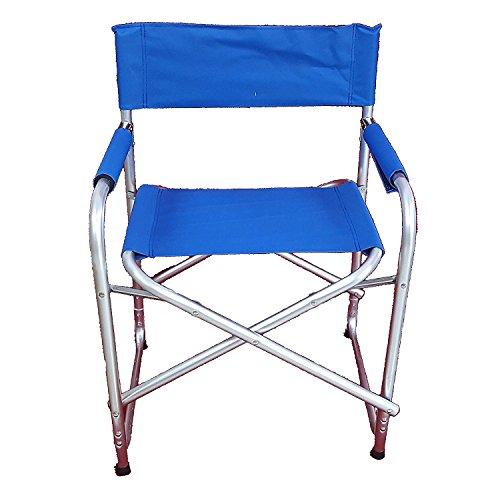 Sedia blu da mare pieghevole modello regista in alluminio tubo robusto 24mm poltrona mare spiaggia giardino campeggio 81x57x34cm