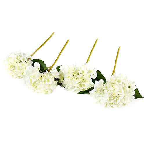 Justoyou Individuelle Hortensie Stiele Künstliche Blumen für Home Office Dekoration,4 Stück,Weiß