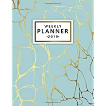 Weekly Planner 2019: Cute Marble Turquoise Weekly and Monthly Organizer. Nifty Yearly Schedule Agenda, Journal and Notebook (January 2019 - December 2019).