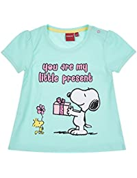 Snoopy Babies Girls Short Sleeve T-Shirt - Light Blue