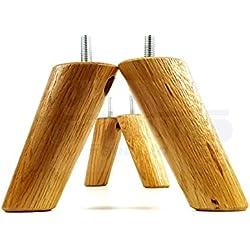 4x de repuesto muebles patas madera maciza pies-100mm de altura-sofás, sillas, sofás, gabinetes-M8(8mm) (cwc815)