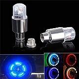 About1988 4 stücke LED Wasserdichte Reifen Ventilkappen Neonlicht Auto Zubehör Fahrradlicht Auto, superhelles LED Fahrrad Lampe geeignet für Fahrrad, Auto, Motorrad oder LKW (Silber)