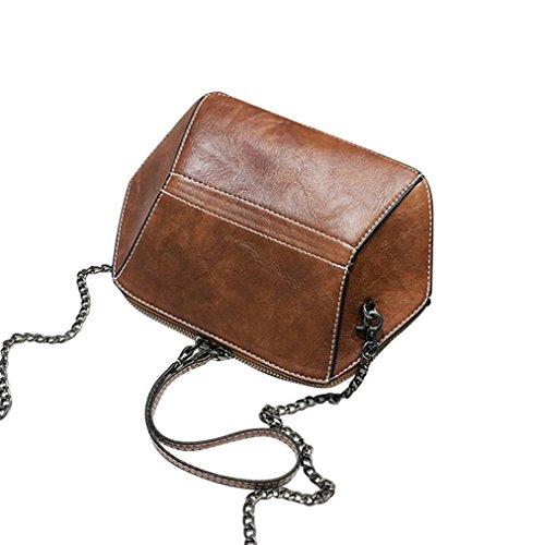Kangrunmy moda donna stile vintage messenger borse crossbody tracolla borse tracolla messenger (brun)