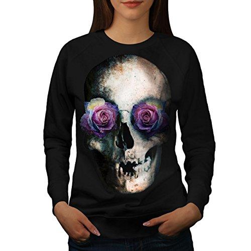 Rose Œil Sucre Roche Crâne Femme S-2XL Sweat-shirt | Wellcoda Noir