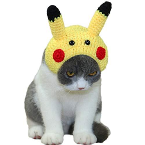 Haustier-Hut-Haustier-Kleidung Halloween-Hut Hand-gestrickter netter Karikatur-Pikachu-Katzen-Hut-Haube Handgemachter kleiner Hundehut-Hut-britischer kurzer Kopfschmuck - Gelb (größe : S)