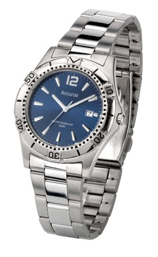 Accurist Men's Quartz Watch with Blue Dial Analogue Display and Silver Stainless Steel Bracelet Mb766N