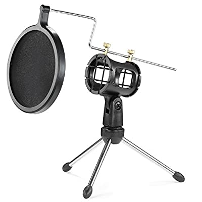"Microphone Pop Filter with Double-Net Shield + 4""/11cm Foldable Desktop Tripod + Shock Mount Mic Holder for Broadcasting and Recording Cellphone/USB Computer Microphone --Black from Flydate"