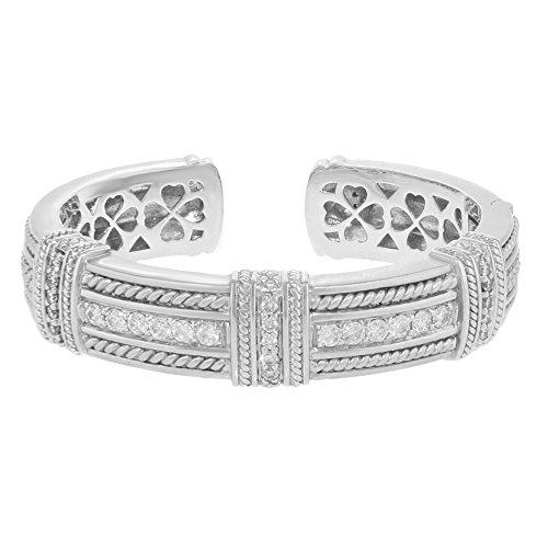 Judith Ripka Ohrringe 18K Weiß Gold Solid & 2.15Karat Diamanten Damen-Armreif Armband