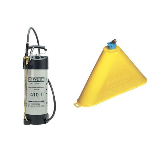 Gloria Drucksprüher Industrie Hochleistungssprühgerät Stahl Ölfest 410TProfi, grau + Sprühschirm