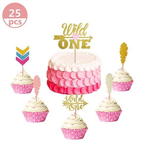 JeVenis Set mit 25 glitzernden Wild One Cupcake Topper Tribal-Cupcake Topper für Wilde One Birthday Party Dekorationen Baby 's First Birthday Decors (Birthday Party Cupcake)