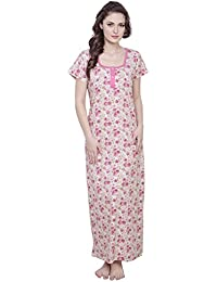 961fe8a9d Claura Printed Hosiery Cotton Nighty for Women Or Cotton Nightdress in Pink