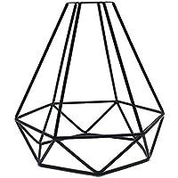 Metyere Geometric Pendant Metal Lamp Guard, Retro Vintage Ceiling Light Shade, Retro Industrial DIY Black Metal Bird Cage Light Shade for Pendant Lights Wall Lights