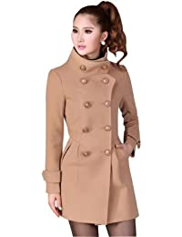 Women's Double Breasted Slim fitted Faux Wool Coat Trench Coat