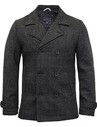 Hommes Laine Mélangée Veste Tokyo Laundry À Carreaux Tweed Double Poitrine Trench Manteau Neuf