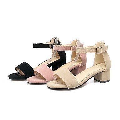 LvYuan Da donna Sandali Comoda Con cinghia Sintetico Estate Formale Comoda Con cinghia Quadrato Heel di blocco Nero Beige Rosa 5 - 7 cm blushing pink