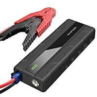Car Jump Starter 14000mAh,RAVPower Car Starter Powerful & Portable,550A For Engines W/ A 12V Battery,The CCA of Car Battery Need to be Less Than 550A,Smartphone Charger,Flashlight w/Retractable Handle