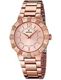 University Sports Press  F16733/1 - Reloj de cuarzo para mujer, con correa de acero inoxidable chapado, color oro rosa
