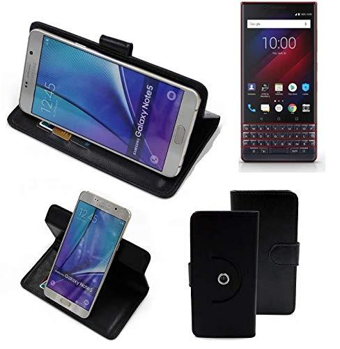K-S-Trade® Case Schutz Hülle Für -BlackBerry Key 2 LE Dual-SIM- Handyhülle Flipcase Smartphone Cover Handy Schutz Tasche Bookstyle Walletcase Schwarz (1x)