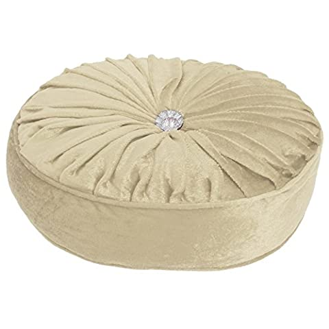 Panache Havana Round Filled Cushion With Diamante Button (32cm x