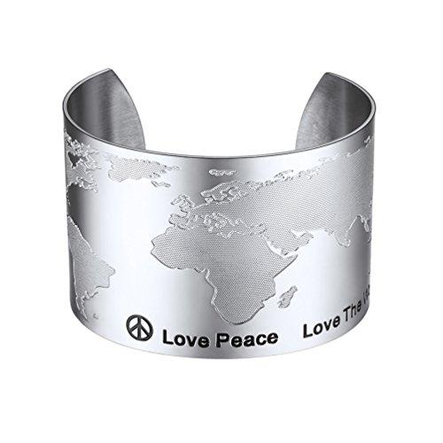 PROSTEEL Damen Edelstahl Armband Weltkarte Design Offener Armreif Armspange 50mm breit Armschmuck für Frauen Mädchen Weihnachten Geburtstag Geschenk(Silber)