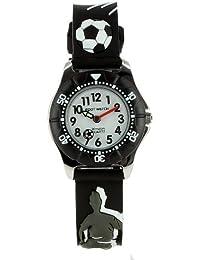 Baby Watch - Zip Football Black - Montre Garçon Footballball - Quartz Pédagogique - Cadran Blanc - Bracelet Plastique Noir