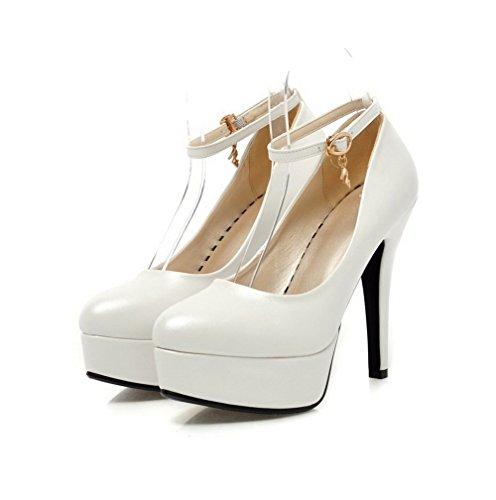 Couleur Chaussures Haut Boucle Rond Talon Blanc Unie Voguezone009 xqwxpX0A1U