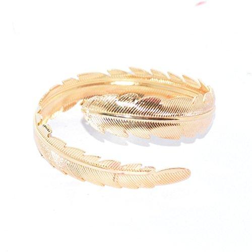 TENDYCOCO 2Pcs Swirl Leaf Upper Arm Bracelet Arm Cuff Armlet Armband Adjustable (Gold Silver)