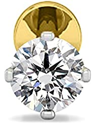 Silver Dew Pure Sterling Silver 0.03Ct White Sim Diamond Solitaire Nose Stud Pin Ring available at Amazon for Rs.499