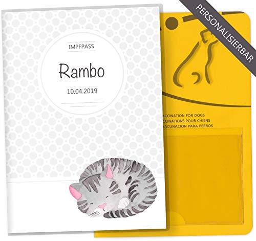 Impfpass Hülle Haustiere Tierausweis Schutzhülle tolle Geschenkidee personalisierbar mit Namen und Geburtsdatum (Rambo, Impfpass personalisiert)