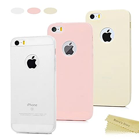[3-Pack] iPhone SE Case ,iPhone 5S Case ,iPhone 5 Case - Mavis's Diary 3 Pieces Soft Rubber TPU Matte Covers Logo Cute-Out Shock-absorption Scratchproof Flexible Slim Thin Pure Color Pack of 3 Bumper Skin Protective Cases ,Semi-transparent White/