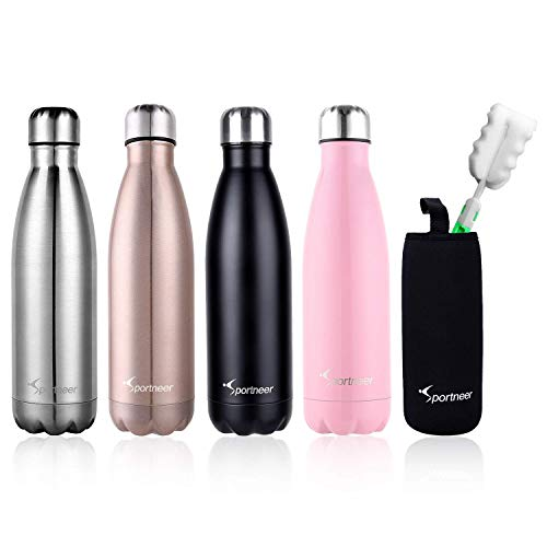Sportneer® Portatile Borraccia in Acciaio Termica, 500ml Bottiglia Sportive Thermos, Facile da Pulire