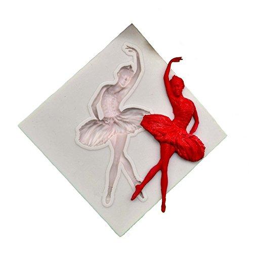Ballerinas Schokolade (Gluckliy Ballerina Mädchen Form Schimmel Kuchen DIY Silikon Fondant Schokolade Schimmel (Weiß))