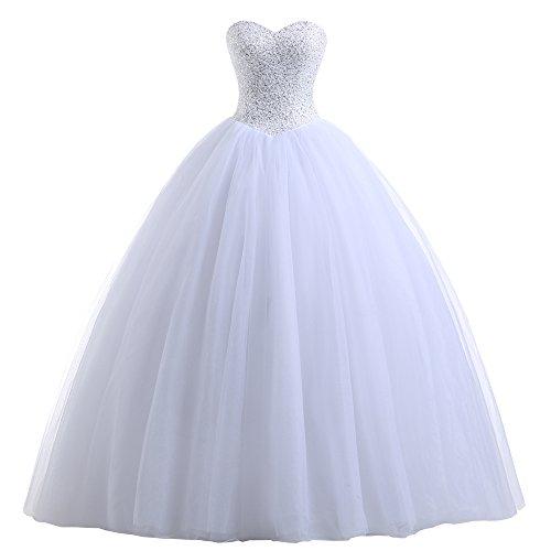 Beautyprom Frauen Ballkleid Brautkleider (44, Weiß)