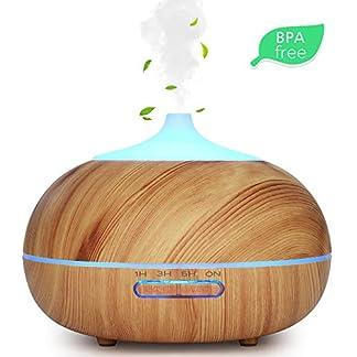 WD&CD Humidificador Aromaterapia Ultrasónico [300ML], 7-Color LED, 3 Ajuste de Tiempo,Súper Mudo Difusor de Aceites Esenciales de luz para Bebes, Hogar, Oficina,Dormitorio —Grano de Madera