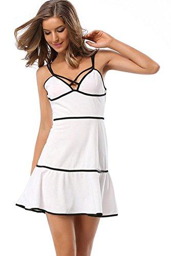 La Vogue Robe Mini Bretelle Volant Bustier Dos Nu Taille Huat Femme Soirée Blanc