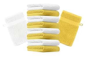 10er Pack Waschhandschuhe Waschlappen Premium Größe 16x21 cm Farbe Gelb & Weiß Kordelaufhänger 100% Baumwolle
