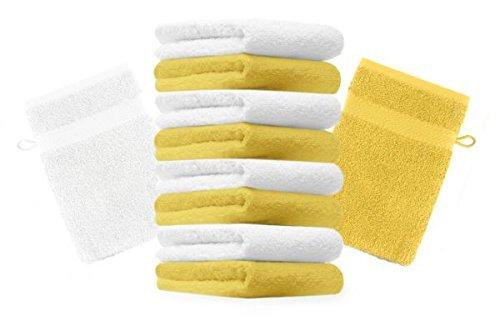 Betz lot de 10 gants de toilette taille 16x21 cm 100% coton Premium couleur jaune, blanc