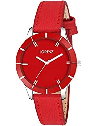 Lorenz Red Dial Analog Watch For Women/Watch For Girls- AS-24A